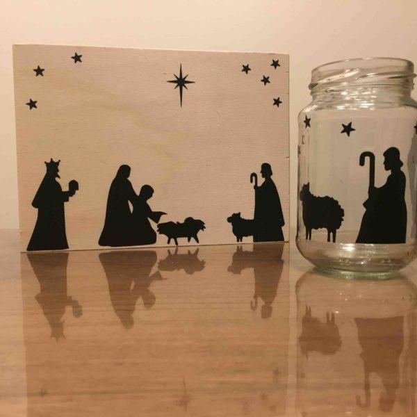 kerststickers op hout en glas