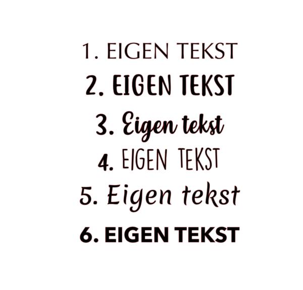 kussen eigen tekst fonts